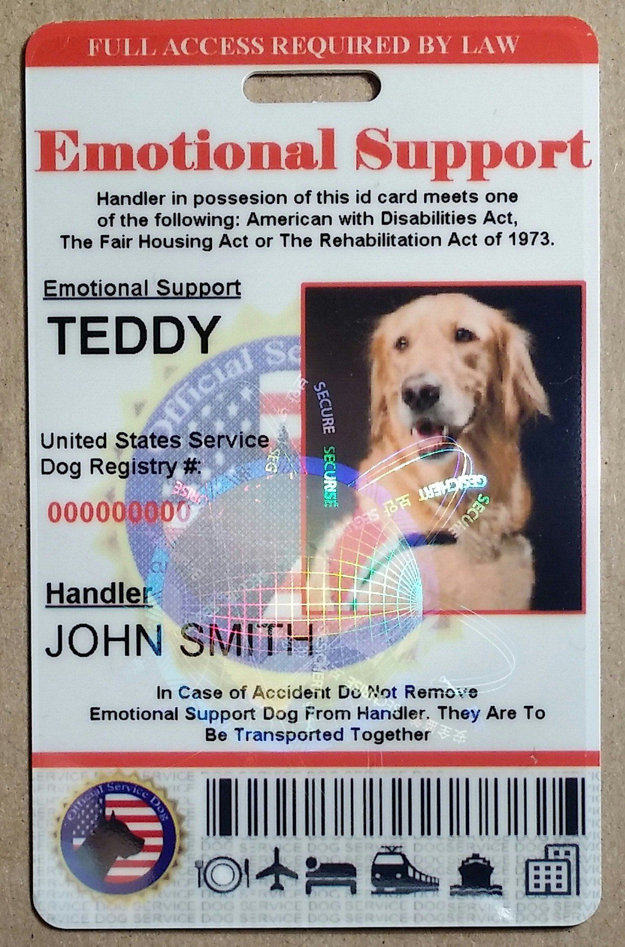 Holographic Emotional Support Dog Id Card Emotional Support Dog