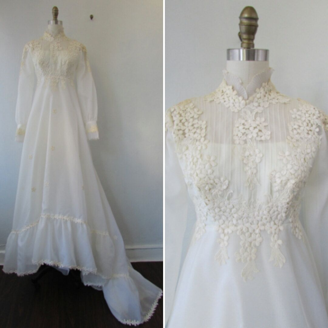 1960's wedding dress with petal applique vintage 60's