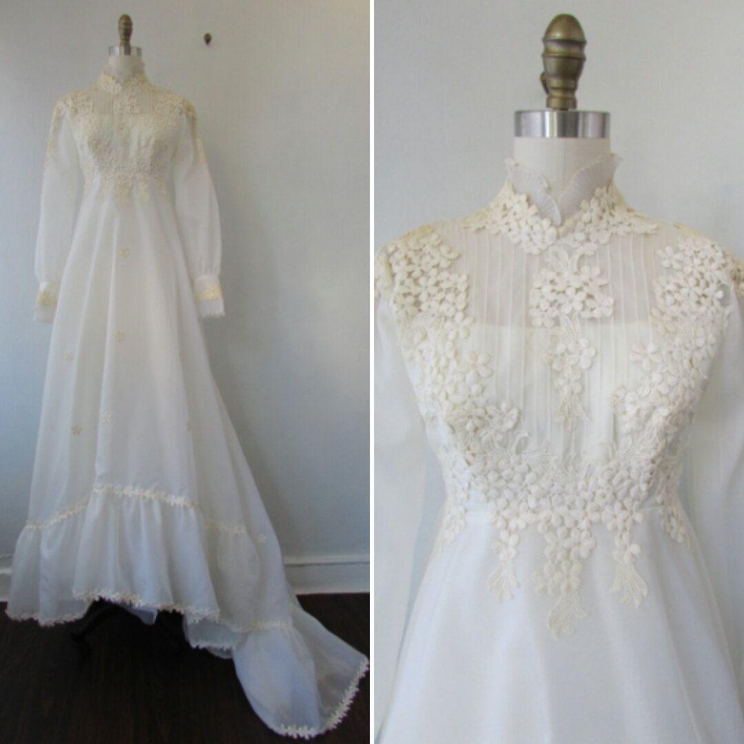 1960's wedding dress with petal applique vintage 60's