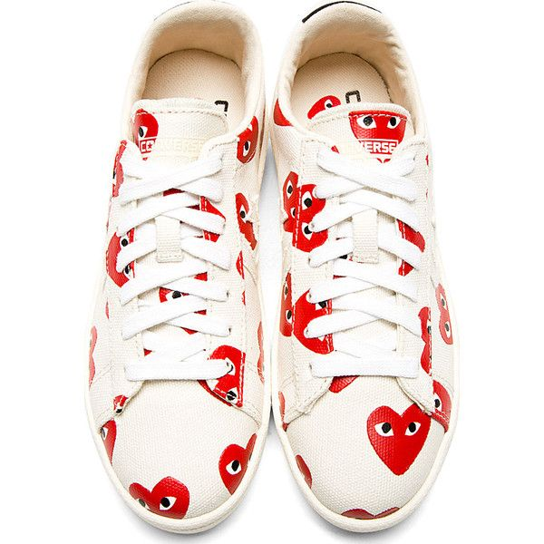 Comme Des Garçons Play Ivory Heart Print Converse Cons Edition Sneakers Girly Sneakers Ivory Shoes Shoes