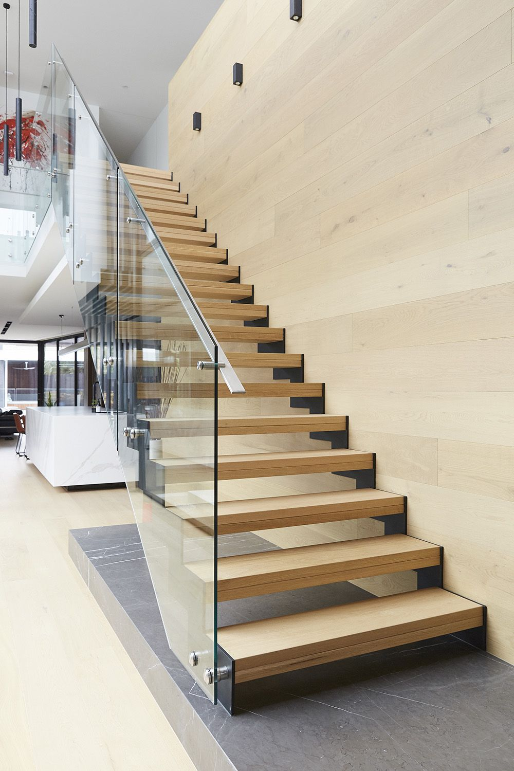 Timber Treads Staircase Steel Zig Zag Stringers Glass