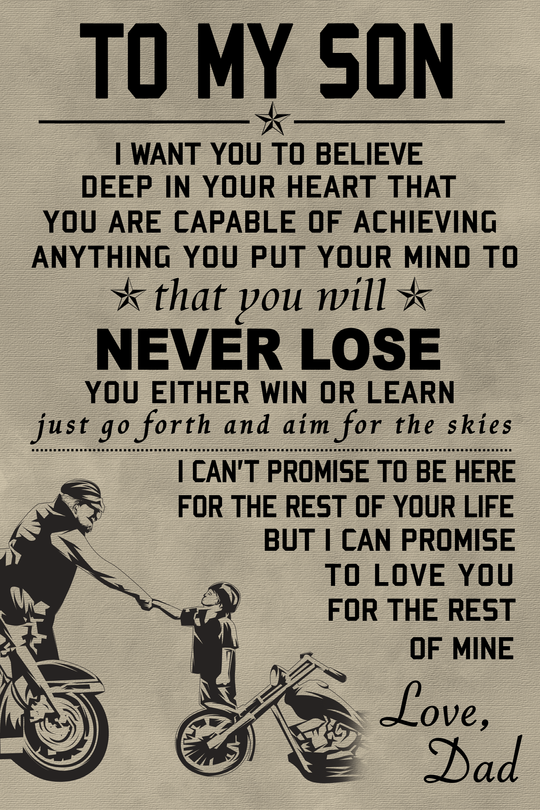 To My Son Biker Poster Father And Son Quote Art Print High Quality