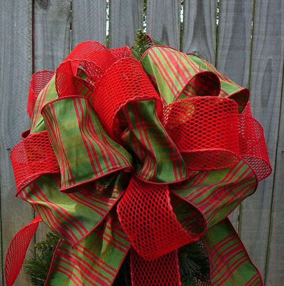Christmas Tree Topper - Green and Red Plaid - Traditional Double