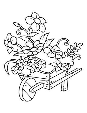 Ausmalbild Blumen Im Schubkarren Malvorlagen Blumen Ausmalbilder Blumenzeichnung
