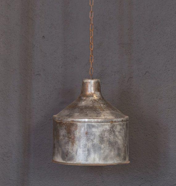 Galvanized Lighting Fixture Pendant Rustic Light Home