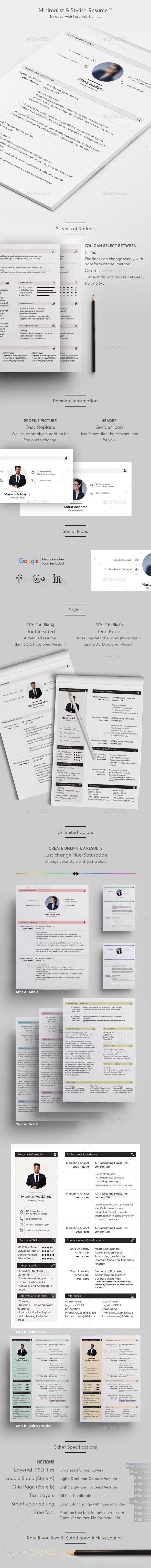 #Minimalist & #Stylish Resume - #Resumes #Stationery Download here: https://graphicriver.net/item/minimalist-stylish-resume/12838204?ref=alena994