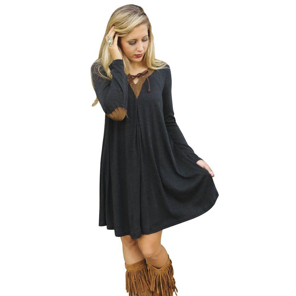 Latest high quality dresses black v neck casual dress long sleeve