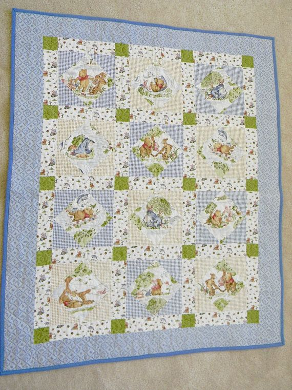 Cute Blue Winnie The Pooh Baby Quilt It Has A Blue And Brown Quilt