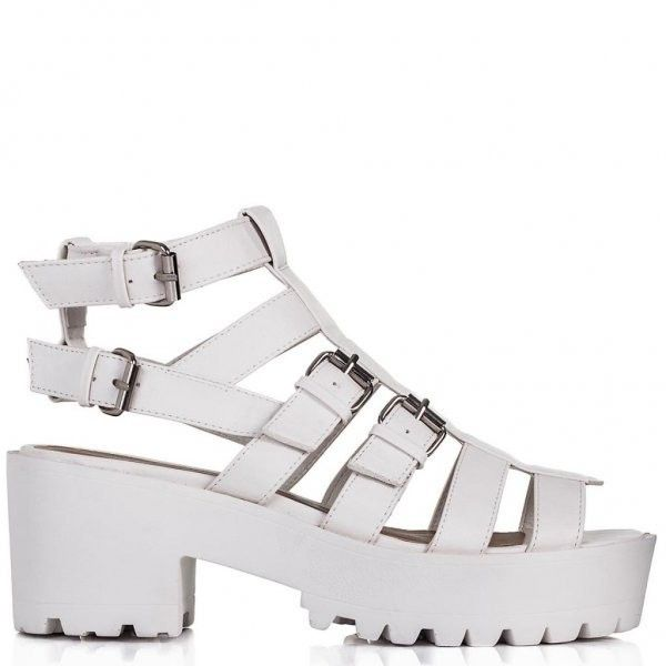 cf469334802 FESTI Heeled Cut Out Gladiator Sandal Shoes White Leather Style ( 45) ❤  liked on Polyvore featuring shoes
