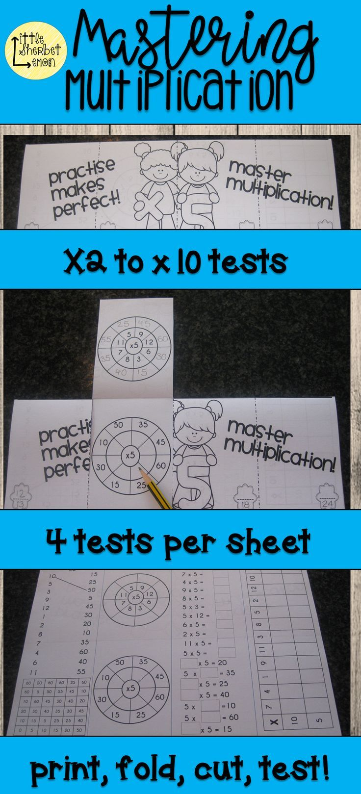 Mastering Multiplication - times tables printable and foldable tests ...