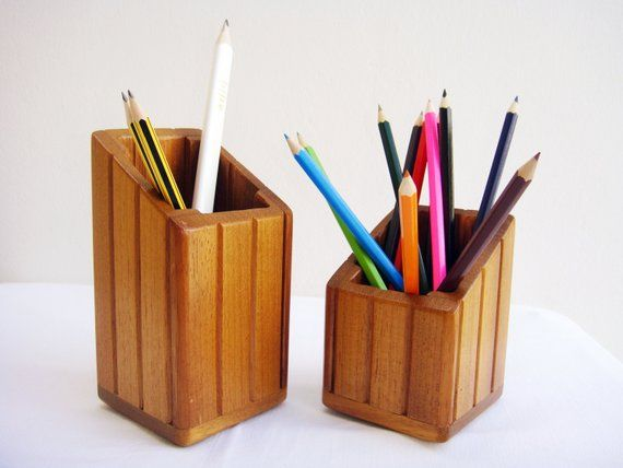 Pencil Holder Set Of Two Desk Organizer Desk Accessories Wooden