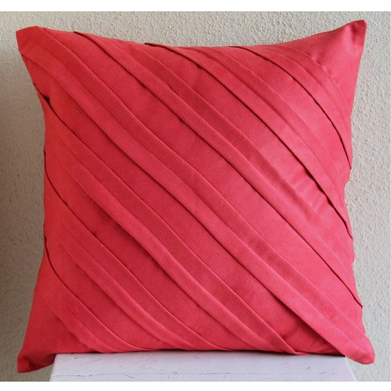 "Red Throw Pillow Covers 16""x16"" Faux Suede Throw Pillows Cover"