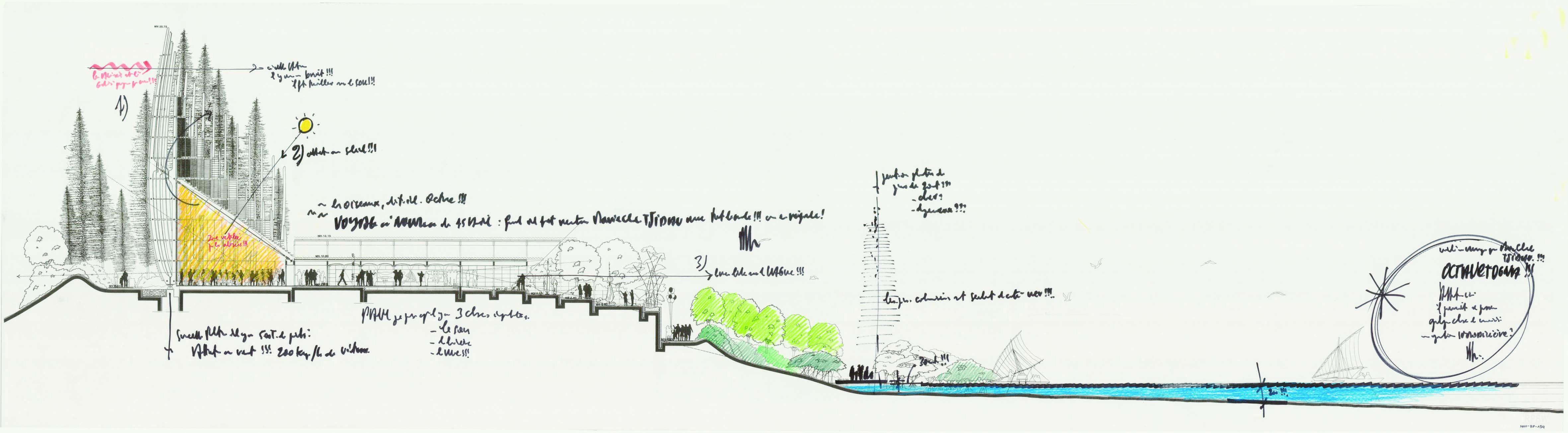 Renzo piano sezione prospetto del centro culturale jean for Disegno del piano online