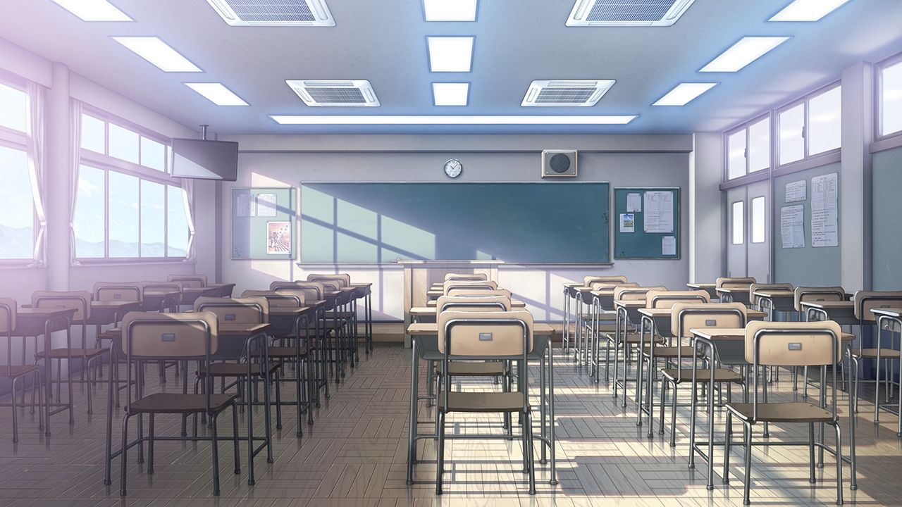 School Anime Scenery Background Wallpaper Ploskie Illyustracii