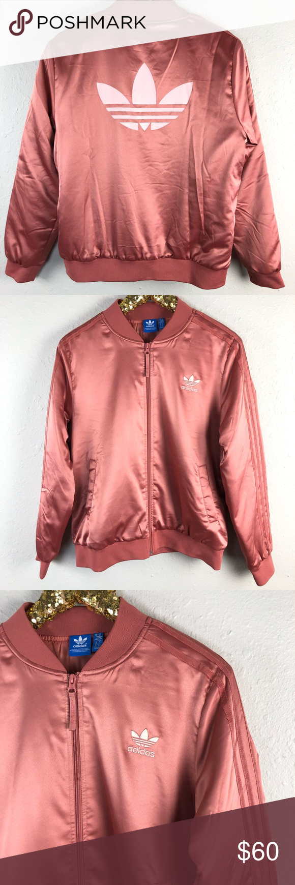 04edf81b489 Adidas Rose Gold Pink Bomber Satin Track Jacket See other items for more  great stuff.