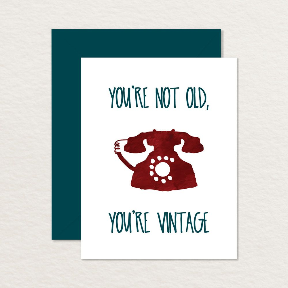 Youre not old youre vintage watercolor rotary phone printable youre not old youre vintage watercolor rotary phone printable birthday card kristyandbryce Choice Image