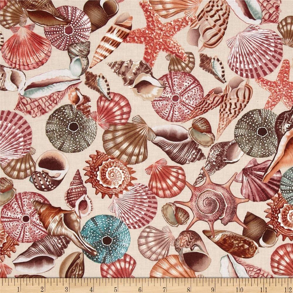White beach print home decor fabric decorative seashell bty ebay - Kanvas Neptune S Dream Tossed Seashell Cream From Designed By Maria Kalinowski Of Kanvas For Benartex Fabrics This Cotton Print Includes White On A Grey