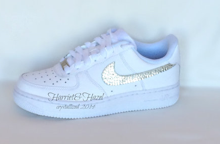 Nike Air Force 1 s in white with Swarovski crystal detail All White ... c6fdcdb62a