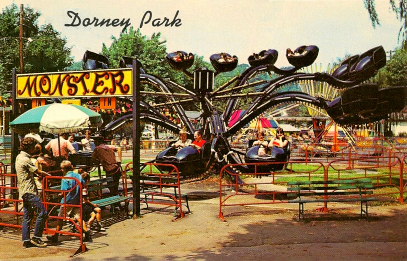 A 1960s postcard showing the Monster ride at Dorney Park in ...