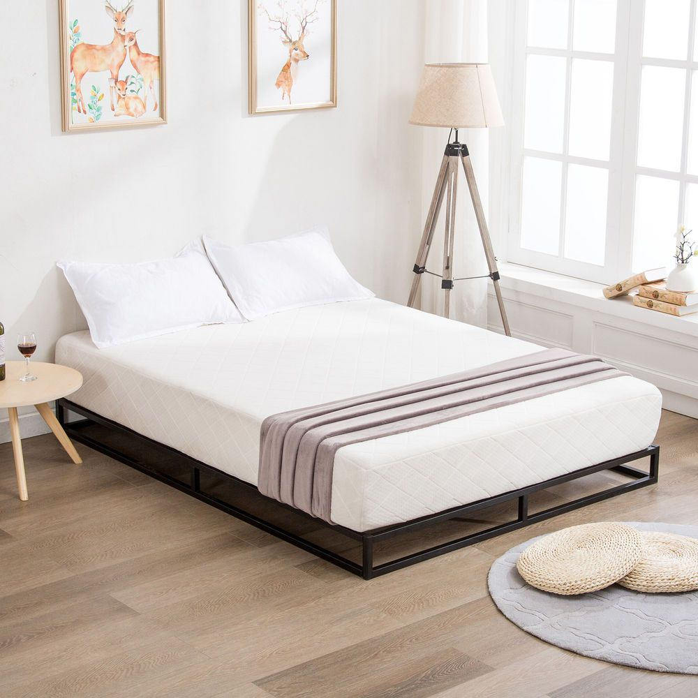 Queen Size Metal Bed Frame Platform Wood Slats Mattress Foundation