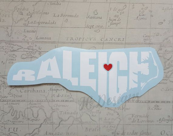 Raleigh north carolina nc vinyl decal with heart by jedesignshop