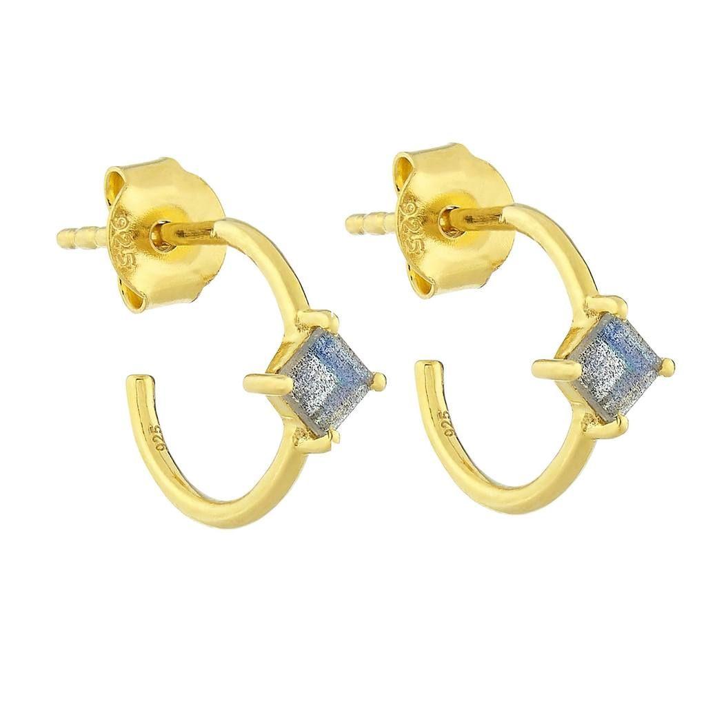 14k Gold Vermeil Diamond Shape Claw Set Hoops In