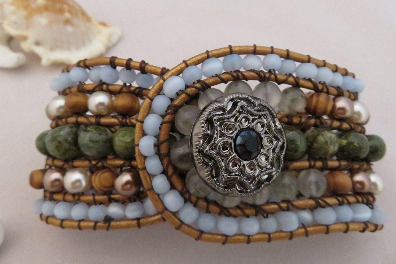 Beaded Cuff Bracelet / Beaded Gem Bracelet / 5 Row Beaded Cuff Bracelet / Wide Cuff Bracelet/Stacked Bracelet by DesignsbyGypsySoul on Etsy
