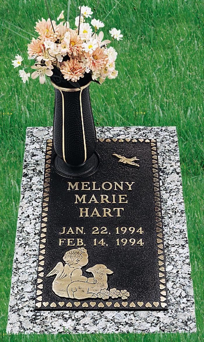 Infant Bronze Gravestone Infant Hearts Angel Lamb Gb 227 Moonlight Gray Granite Size S H 10 X 20 Grave Marker Bronze Plaque Headstones