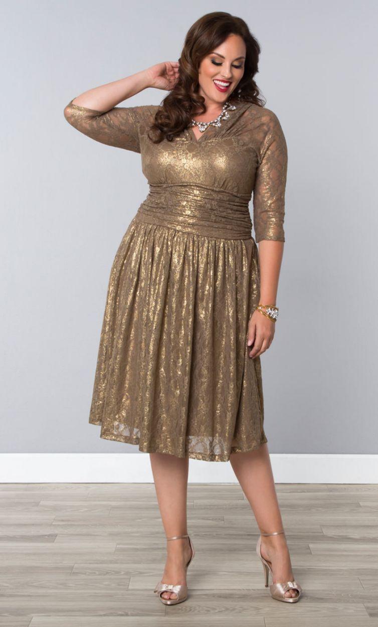 4192a77c4db Plus Size Fashion  plussize Limited Edition Metallic Maven Lace Dress