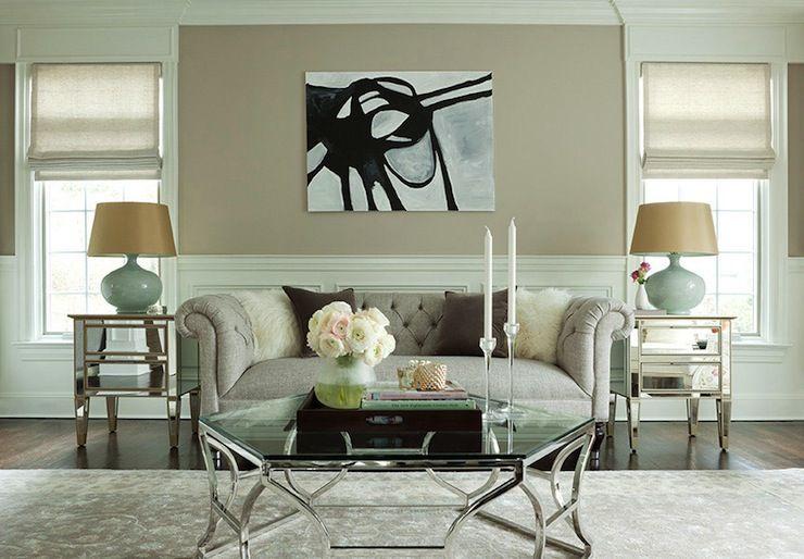 Chic Tan Seafoam Green Living Room Design With Tan Beige Walls
