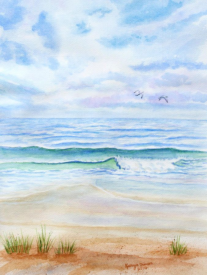 A Day At The Ocean Beach Watercolor Seascape Paintings