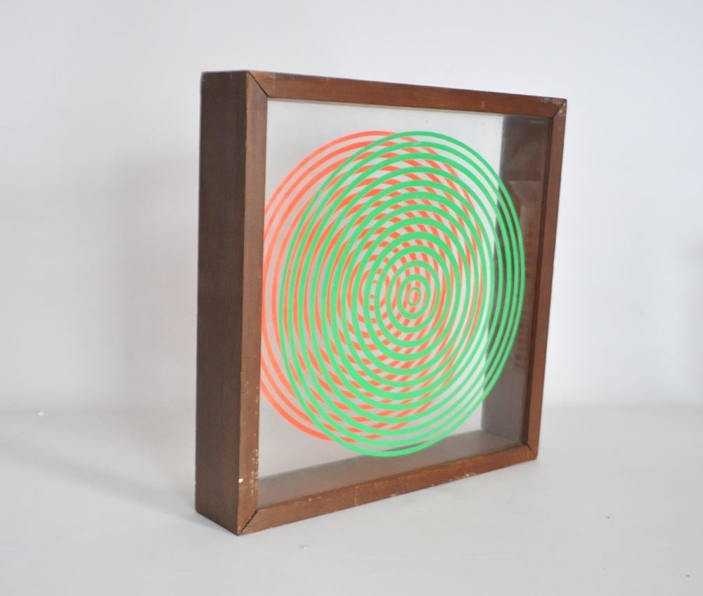 Vtg Mid Century Modern Retro OP Wall Art Framed Glass Box ...