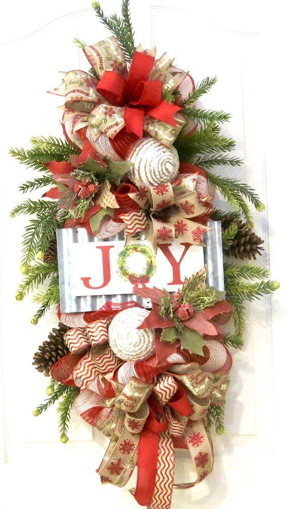 Christmas farmhouse wreath, Christmas wreath, farmhouse