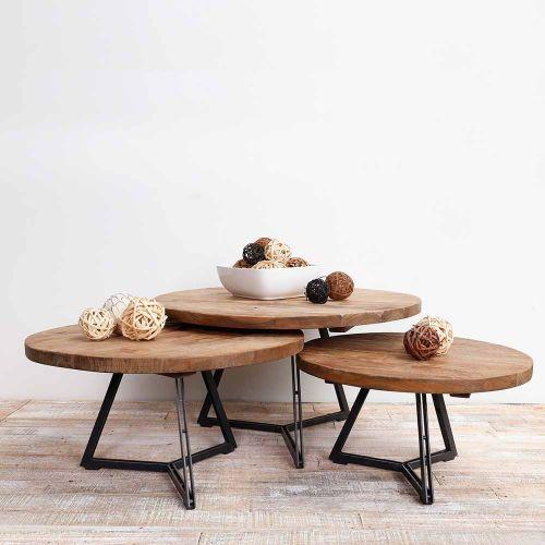 Table Basse Teck Et Métal Home Solutions ø75cm Ronde Meubles