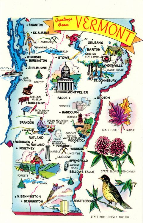 Vermont State Map Vintage Chrome Greetings Postcard, $5.00 ...