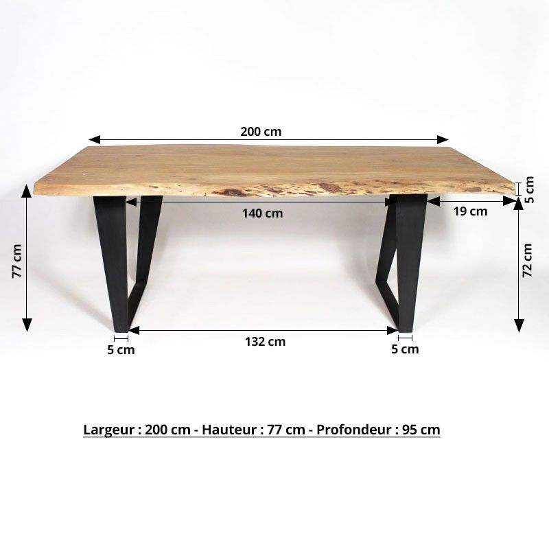 table manger bois massif tronc d arbre pieds m tal. Black Bedroom Furniture Sets. Home Design Ideas