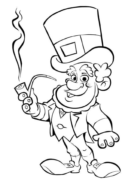 Leprechaun Coloring Pages Printable Free St Patricks Day