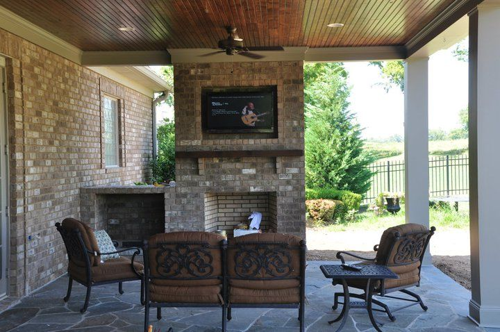 Covered Patio With Fireplace At One Of My Model Homes Home And Design Pinterest Patios Models Backyard
