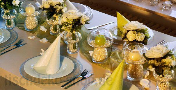 Eine edle tischdeko zur hochzeit mit perlen tischdeko hochzeit - Tischdeko brautpaar ...