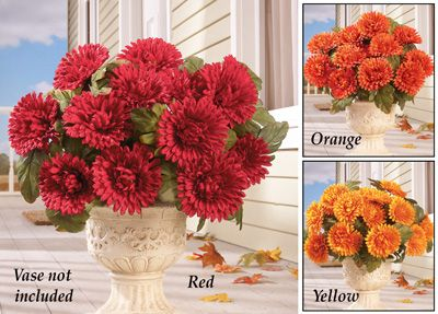 Floral Mum Bushes - Set of 3