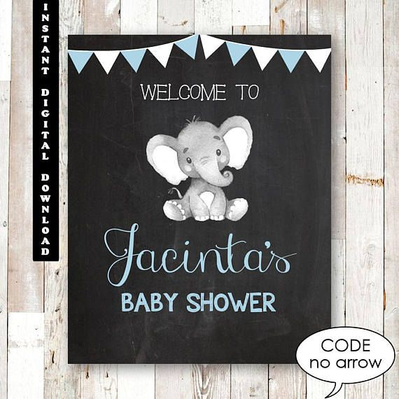 Elephant Baby Shower Welcome Sign Chalkboard Custom Elephant Baby Shower Chalkboard. Elephant Baby Shower Decorations Game