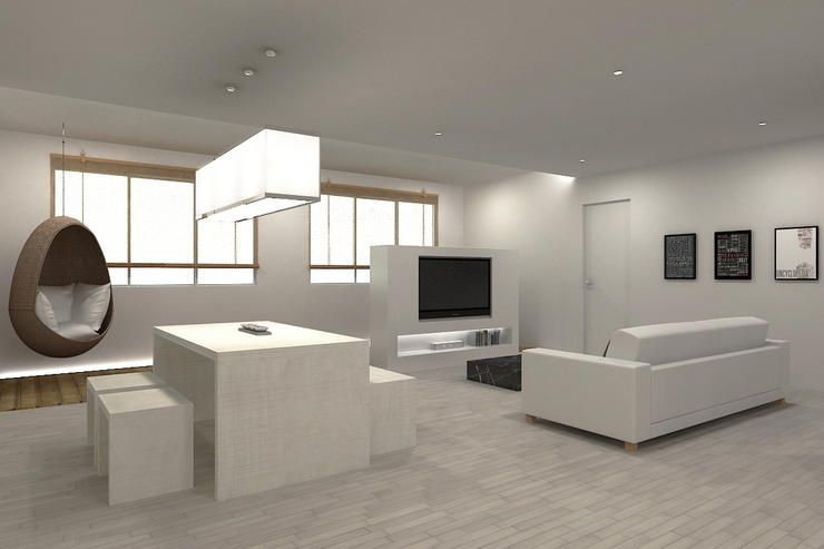 Minimalist deco living dining space hdb small space for Minimalist interior design singapore