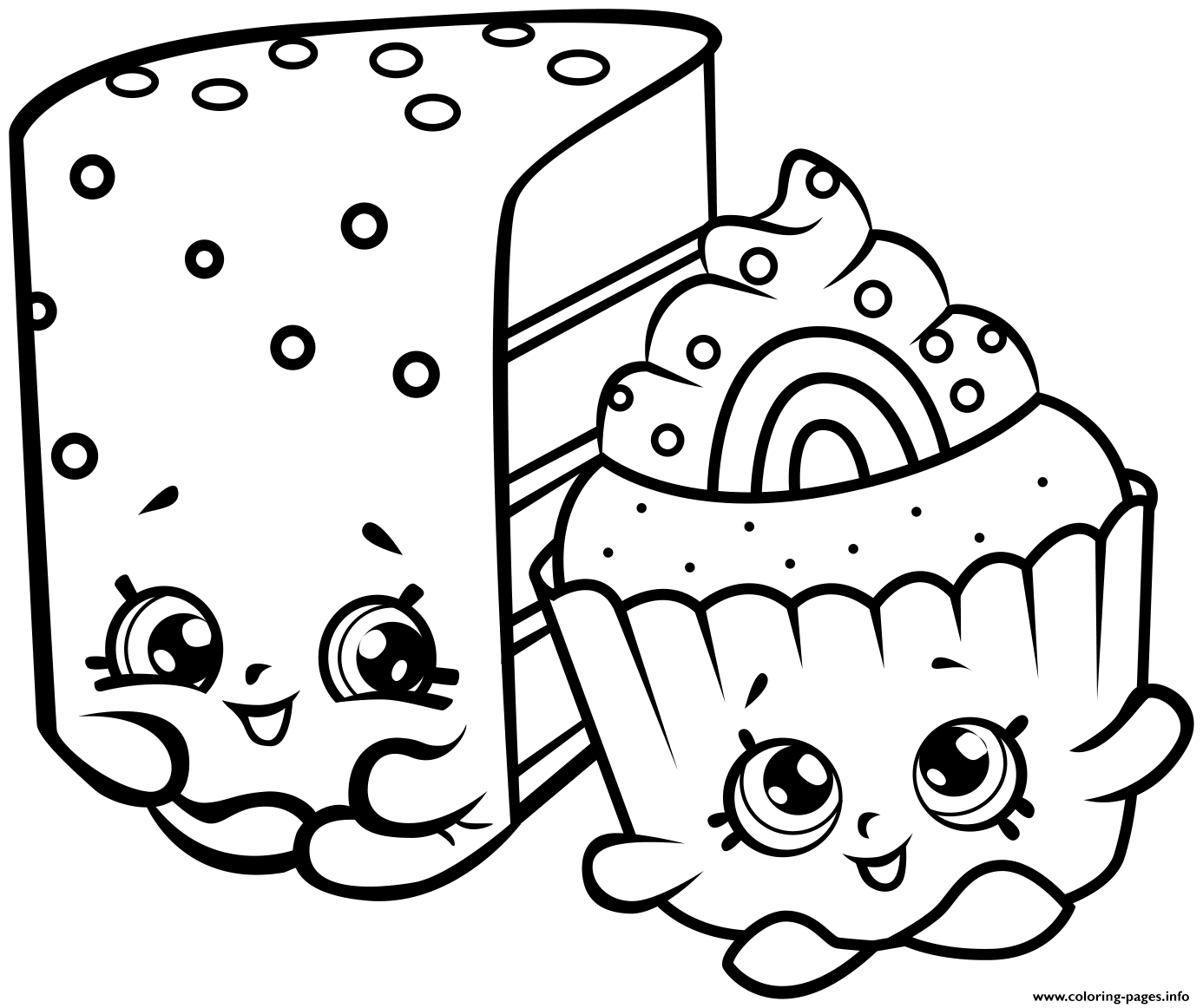Print cute shopkins cakes coloring pages bv Pinterest