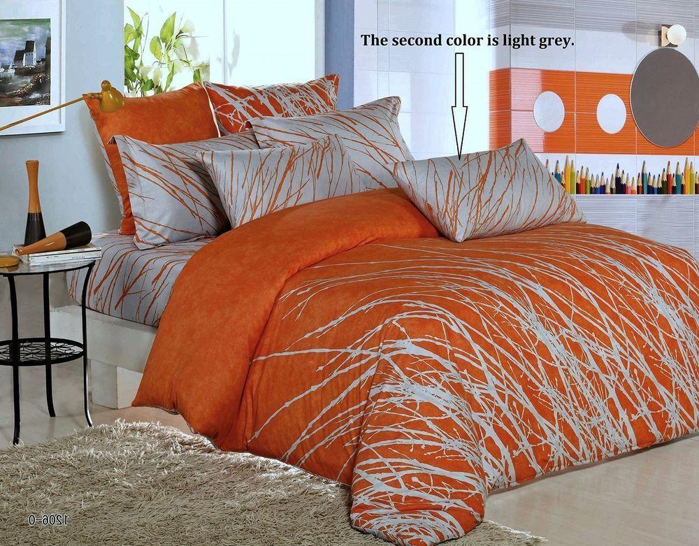 2b2aabd5ff7 3pc Orange - Light Grey Tree Duvet Cover   Pillowcases Queen King 100%  Cotton  SwansonBeddings  Contemporary