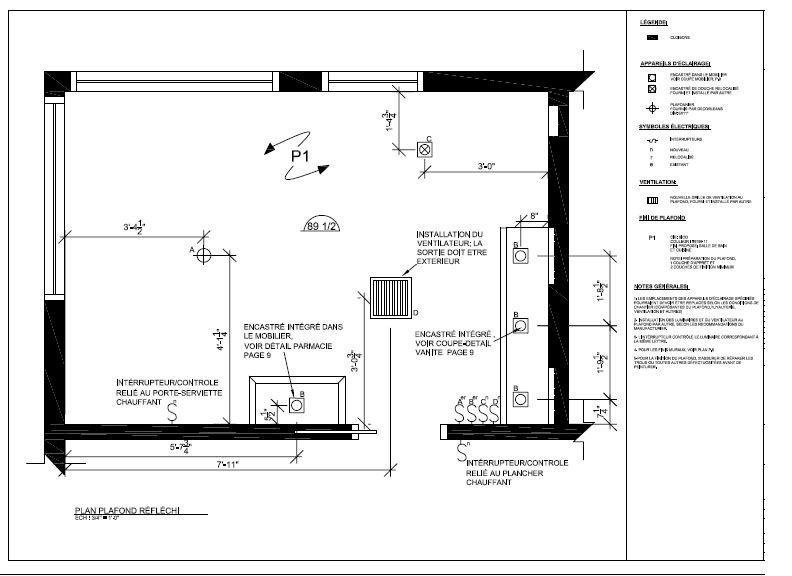 Nouvelle salle de bain - Plan architectural et électrique - 2014 - Plan Electrique Salle De Bain