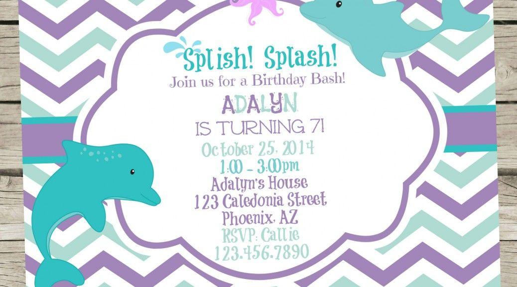 Dolphin birthday party invitation purple and aqua sea animals dolphin birthday party invitation purple and aqua filmwisefo
