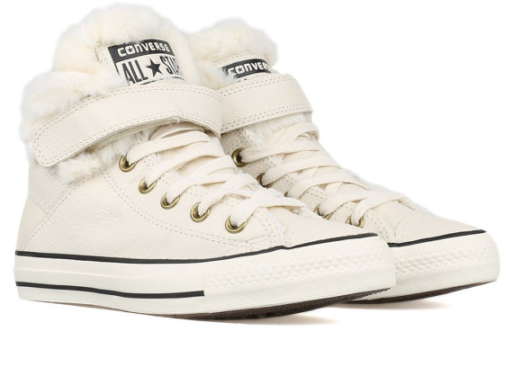 White Converse Fur Lined SheepsWool Leather High Top W US 8