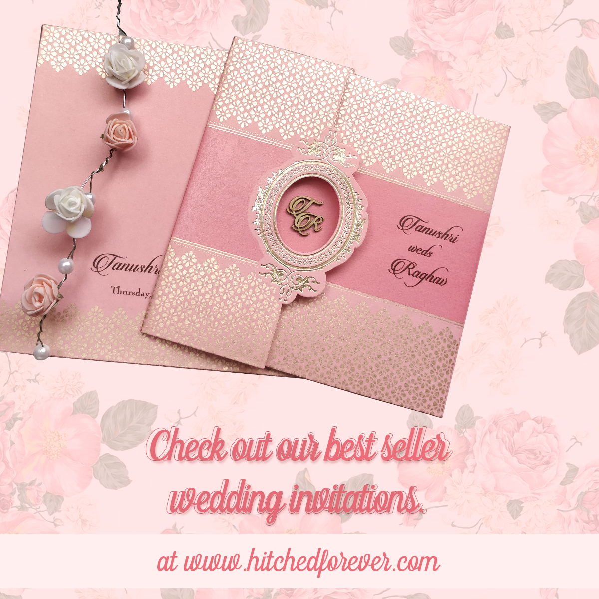 Best selling rose gold color Indian wedding invitations