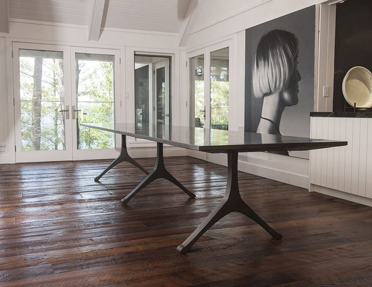 Custom Extra Large Black Dining Table Engineered Cemenious Composite Top Paired With Cast Iron Legs
