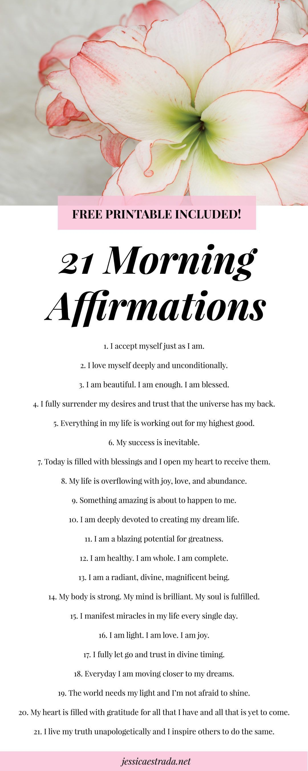 21 Morning Affirmations Printable   Click through to download you FREE  affirmations printable to start your morning off right. Plus, you can read  my 5-step ...
